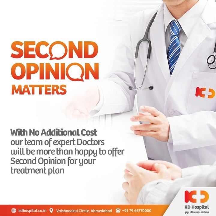 Make an insightful decision about your health-related issues. Get a second opinion from us, which is simple, quick and easily accessible. With No additional cost for the opinion. Visit https://bit.ly/3kevQpS for more information.  #KDHospital #SecondOpinion #SecondOpinionProgram #Consultation  #opinion #outpatient #DoctorsOfInstagram #Diagnosis #Therapeutics #goodhealth #pandemic #socialmedia #socialmediamarketing #digitalmarketing #wellness #wellnessthatworks #Ahmedabad #Gujarat #India