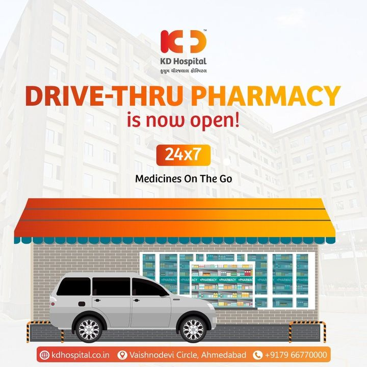 24 x 7 Drive Thru Pharmacy now open at KD Hospital Now avail your medicines on the Go...  #KDHospital #Drivethru #Drivethrupharmacy #pharmacy #medicine   #goodhealth #health #wellness #fitness #healthiswealth #healthyliving #patientscare #Ahmedabad #Gujarat #India