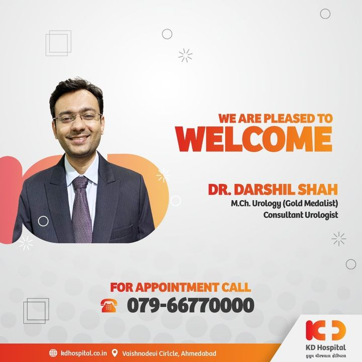 KD Hospital welcomes Dr. Darshil Shah in the team of frontliners as a Consultant Urologist, who is a gold medalist in his specialization (MCh Urology). Call 079-66770000 to book an appointment.   #KDHospital #urology #urologist #minimalinvasiveurology #minimallyinvasivesurgery #TURP #ProstateCheck #MaleIncontinence #MaleInfertility  #goodhealth #health #wellness #doctor #fitness #healthiswealth #healthyliving #patientscare #Ahmedabad #Gujarat #india