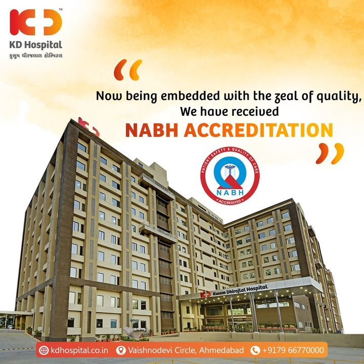 Beginning the new year 2021 with the good news. Now we are NABH accredited, The highest national recognition you should look for quality patient care and safety.   #KDHospital #NABH #NABHHospital #accreditation #QualityCare #Compassion #Doctors #Diagnosis #Therapeutics #goodhealth #soical #socialmediamarketing #digitalmarketing #wellness #wellnessthatworks #Ahmedabad #Gujarat #India