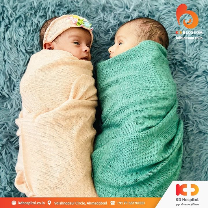 Welcoming cute little twins Malhaar and Manyata at KD Blossom. Twins delivered under the care of Dr. Nita Thakre (Gynaecologist and Obstetrician).   #KDBlossom #KDHospital #Gynaecologist #Twins #TwinsDelivery #HighRiskPregnancy #Paediatrician #Obstetrician #Gynaecology #Paediatrics #Obstetrics #Neonatology #Neonatologia  #Delivery #Children #Hospital #GoodHealth #Wellness #HealthIsWealth #HealthyLiving #Patientscare #Ahmedabad #Gujarat #India