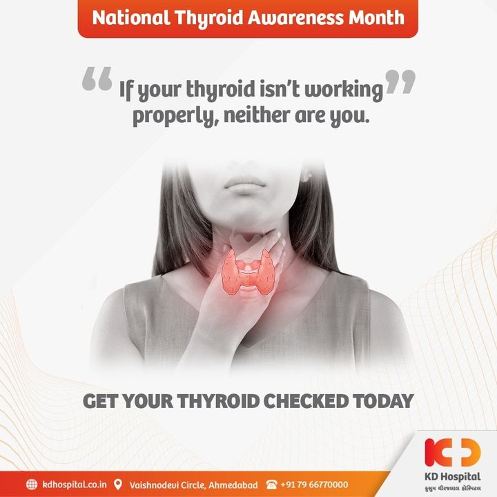 It has been estimated that about 42 million people in India suffer from thyroid diseases. Being a functional part of your metabolism, apt thyroid screening at certain interval is imperative.   #KDHospital #Thyroid #ThyroidCare #NationalThyroidAwarenssMonth #ThyroidScreening #NABHHospital #QualityCare #hospitals #doctors #healthcare #covid #CovidVaccine #medical #health #hospital  #nurses #medicine #coronavirus #staysafe #physicians #surgery #surgeon #wellnessthatworks #Ahmedabad #Gujarat #India