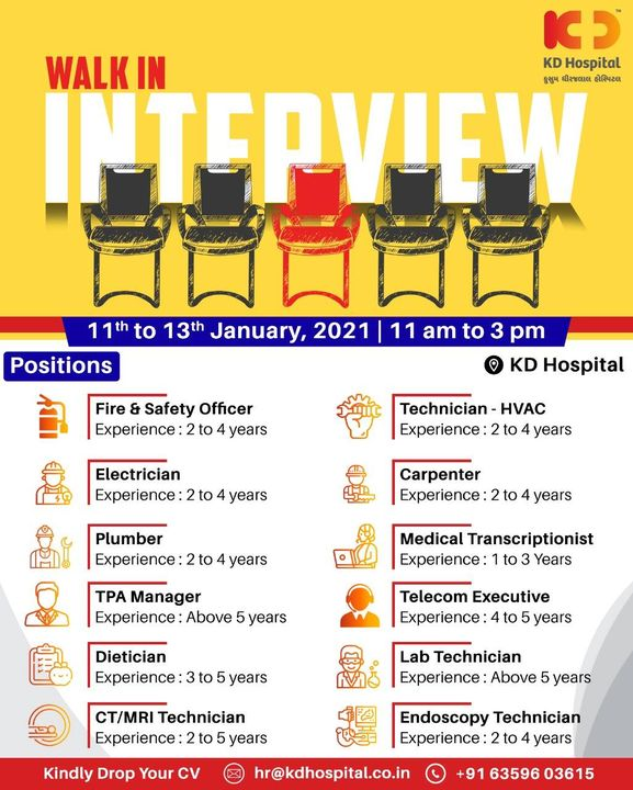 Be part of our Careforce team, KD Hospital is hiring for multiple positions. Walk-In 11 AM to 3 PM, From 11-13th Jan'21. Call +91 6359 603615 to know more.  #KDHospital #Hiring #WeAreHiring #firesafety #electrician #plumber #carpenter #medicaltranscriptionist #labtechnician #HiringAlert #Connections  #Therapeutics #goodhealth #pandemic #socialmedia #socialmediamarketing #digitalmarketing #wellness #wellnessthatworks #Ahmedabad #Gujarat #India