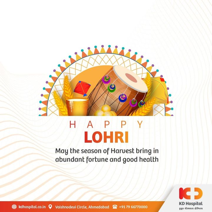 "May this auspicious season bestow Health, Happiness and Harvest. KD Hospital wishes ""Happy Lohri"" to all.  #KDHospital #lohri #lohricelebration #lohrifestival #festival #Indianfestival #festivevibes #positivevibs #happiness #happylohri #Diagnosis #Therapeutics #goodhealth #pandemic #socialmedia #socialmediamarketing #digitalmarketing #wellness #wellnessthatworks #Ahmedabad #Gujarat #India"