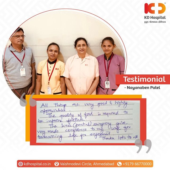 YOU are the reason that we strive to give excellent patient care every day. Thank you, Mr. and Mrs. Patel, for your valuable feedback for the Department of Orthopaedics.   #KDHospital  #MultiSpecialtyHospital #Compassion #Doctors #Diagnosis #Therapeutics #goodhealth #patienttestimonial #patient #testimonial #testimony #kneereplacement #kneepain #kneesurgery #orthopedicsurgery #physicaltherapy #orthopaedics #jointreplacement #kneereplacementsurgery #kneeinjury #orthopedic #kneerehab #jointpain #Ahmedabad #Gujarat #India