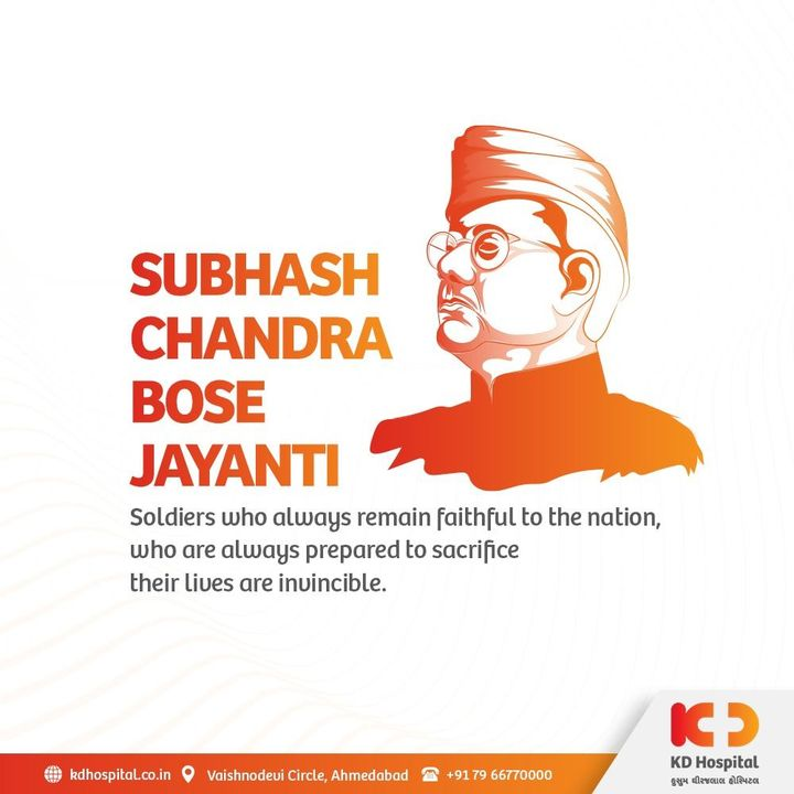 On the very occasion of Parakram Diwas, let's gather courage to stand for the right as Netaji Subhash Chandra Bose always did.  #KDHospital #BestHospitalInIndia #subhashchandrabose #bose #nation  #freedom #struggle #risk #life #interest #parakramdivas  #netajisubhaschandrabose #NABHHospital #QualityCare #hospitals #doctors #healthcare  #hospital #medicine #staysafe #physicians  #wellnessthatworks #Ahmedabad #Gujarat #India