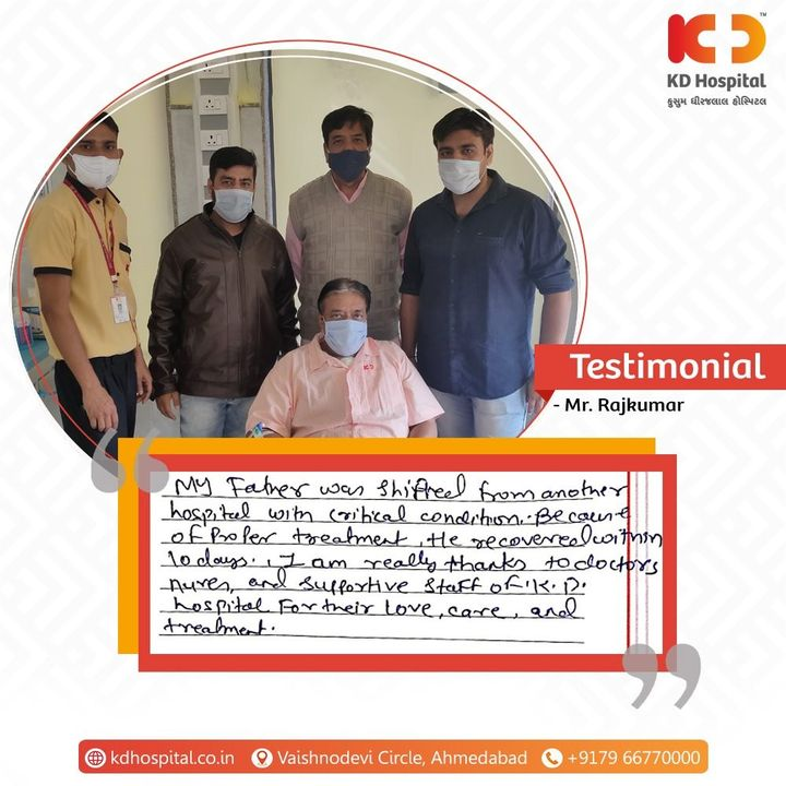 Thank you so much for your appreciation towards our healthcare frontliners. They constantly put their best foot forward for providing care and well-being. #KDHospital #MultiSpecialtyHospital #Compassion #Doctors #Diagnosis #Therapeutics #goodhealth #patienttestimonial #patient #testimonial #testimony #Ahmedabad #Gujarat #India