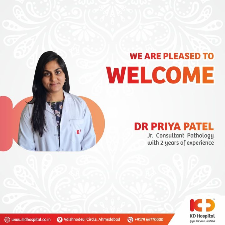 KD Hospital is pleased to announce the joining of Dr. Priya Patel as Junior Consultant in the Department of Pathology with 2years of enriching experience.  #KDHospital  #Pathology #pathologist #health #doctor  #fitness #healthiswealth #healthyliving #goodhealth #pandemic #socialmedia #socialmediamarketing #digitalmarketing #wellness #wellnessthatworks #Ahmedabad #Gujarat #India