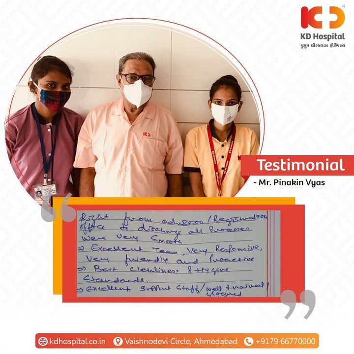 KD Hospital feels privileged for having received kind words from our patient Mr. Pinakin Vyas. Thank you for reinforcing your trust and relationship with us.   #KDHospital #MultiSpecialtyHospital #Compassion #Doctors #Diagnosis #Therapeutics #goodhealth #patienttestimonial #patient #testimonial #testimony #soical #socialmediamarketing #digitalmarketing #wellness #wellnessthatworks #Ahmedabad #Gujarat #India
