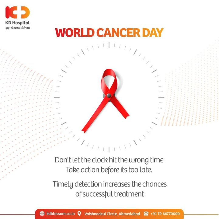 Now is the time to act and spread awareness. Cancer is a worldwide threat and on this World Cancer Day, let's pledge to take action before it gets too late.  Early Detection increases the chances of a successful treatment and a better life ahead.   #KDHospital #WorldCancerDay #CancerDay #CancerAwareness #EarlyDetection #CancerTreatment  #Awareness #goodhealth #pandemic #socialmedia #socialmediamarketing #digitalmarketing #wellness #wellnessthatworks #Ahmedabad #Gujarat #India