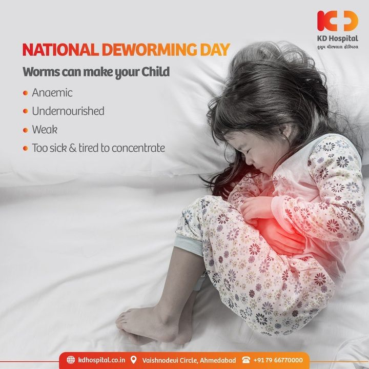 National Deworming Day is a step towards making every child in the country worm free. According to World Health Organization 241 million children between the ages of 1 and 14 years are at risk of parasitic intestinal worms in India. Deworming is necessary to improve your child's immunity and thereby protecting them from chronic illnesses caused by worms.   #KDHospital #NationalDewormingDay #DewormingDay #StomachWorms #Awareness #goodhealth #pandemic #socialmedia #socialmediamarketing #digitalmarketing #wellness #wellnessthatworks #Ahmedabad #Gujarat #India