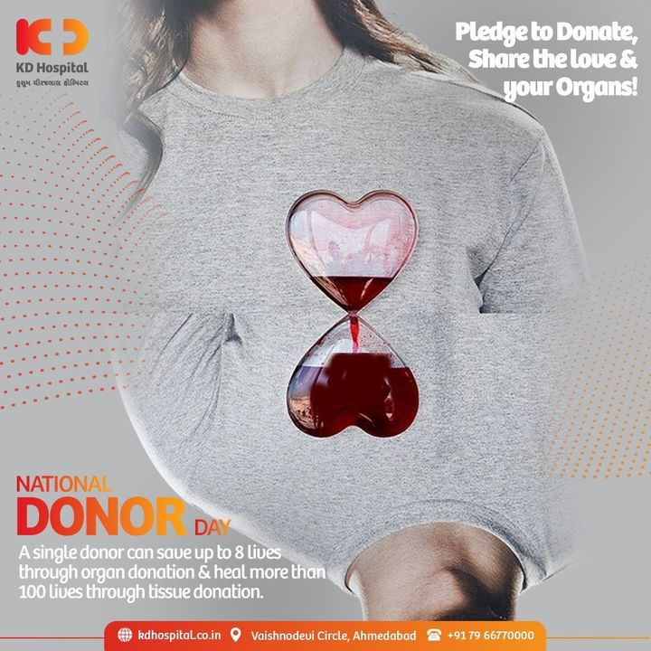 Register yourself Now https://bit.ly/3rQnbhB and take  a pledge to give someone another chance and give a gift of life. Promote awareness about Organ or Tissue donation and recognize the selfless contribution made by deceased donors to healthcare, re-instilling our faith in humanity on this National Donor Day.   #KDHospital #NationalDonorDay #OrganDonation #TissueDonation #Awareness #goodhealth #pandemic #socialmedia #socialmediamarketing #digitalmarketing #wellness #wellnessthatworks #Ahmedabad #Gujarat #India