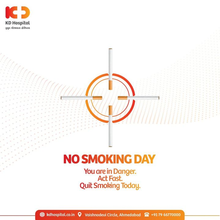 Today just might be the best day to start seriously thinking about quitting smoking. This #NoSmokingDay, quit the habit of smoking to save yourself and most importantly the lives of those around you.  #KDHospital  #NoSmokingDay #SayNoToSmoking #healthfirst #healthylifestyle #stayhealthy  #pandemic #Diagnosis #Therapeutics #Awareness  #goodhealth  #Nusring #NABHHospital #QualityCare #hospitals #doctors #Nurses #healthcare #medical  #digitalmarketing #wellness #wellnessthatworks #Ahmedabad #Gujarat #India