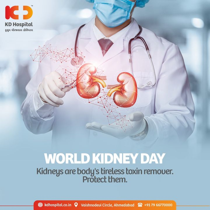 """2021 has been declared as the year of """"Living Well with Kidney Disease"""". We at KD hospital are committed towards healing the patients and educating them for living well with kidney disease. We should always protect our kidneys and drink more water because they are body's timeless toxin removers.   #WorldKidneyDay #KidneyDay #Kidney #KidneyDisease #KDHospital #KD #healthfirst #healthylifestyle #stayhealthy #Awareness #goodhealth #Diagnosis #Therapeutics  #NABHHospital #QualityCare #hospitals #doctors #Nurses #healthcare #medical #digitalmarketing #wellness #wellnessthatworks #Ahmedabad #Gujarat #India"""