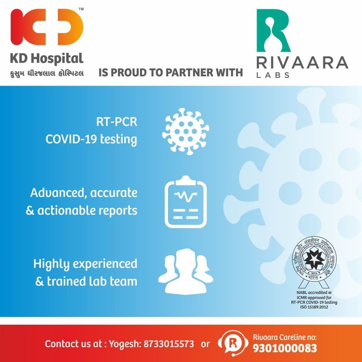 KD Hospital is alliancing with Rivaara Labs for RT-PCR Covid-19 testing. Rivaara Labs is NABL accredited and ICMR approved molecular diagnostics provider. Call +918733015573 for the safe collection of the swab at your doorstep.  Rivaara Labs  #KDHospital #HelpingHands #NewNormal #RTPCR #RivaaraLabs #covid19 #NABL #ICMR #CovidTesting #CovidTest #NABHHospital #HomeCollection #StayHome #QualityCare #hospitals #doctors #healthcare #Covid #CovidVaccine #StaySafe #WellnessThatWorks #Ahmedabad #Gujarat #India