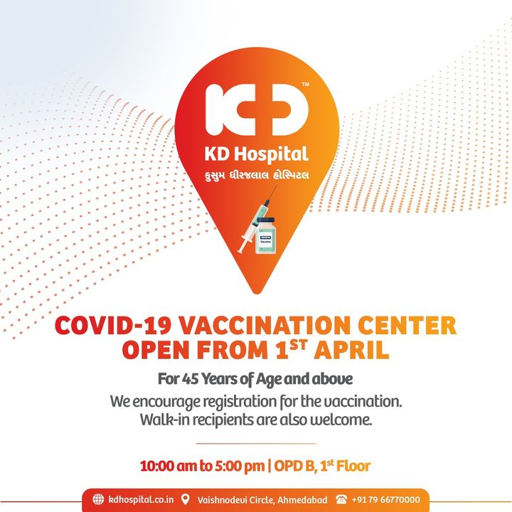 KD Hospital is to become Covid-19 Vaccination Center from 1 April. Fight the flu and get your loved ones vaccinated. Register Yourself Now @ https://bit.ly/2OahjBI  #KDHospital #ImmunisedIndia #largestvaccinedrive  #Covid19 #CovidVaccine  #Immunization #Vaccination #StayAware #StayAwareStaySafe #Diagnosis #goodhealth #pandemic  #healthfirst #healthylifestyle  #wellness #wellnessthatworks  #NABHHospital #QualityCare #hospitals #doctors #Nurses #healthcare #medical #digitalmarketing #Ahmedabad #Gujarat #India