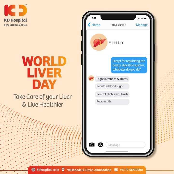 World Liver Day encompasses the activities to reach out to more individuals about diseases of the liver, the second largest organ of our body, so that prompt treatment of those diseases can prevent a fatality.  Call +91 7966770000to book an appointment with us today for your check-up.  #KDHospital #WorldLiverDay #WorldLiverDay2021 #HealthDay  #HealthyLiver #Liver #LiverDiseases #ImmunisedIndia #Covid19 #CovidVaccine #Immunization #StayAware #StayAwareStaySafe #Diagnosis #goodhealth #pandemic #healthfirst #healthylifestyle #wellness #wellnessthatworks #NABHHospital #QualityCare #hospitals #doctors #Nurses #healthcare #medical #Ahmedabad #Gujarat #India