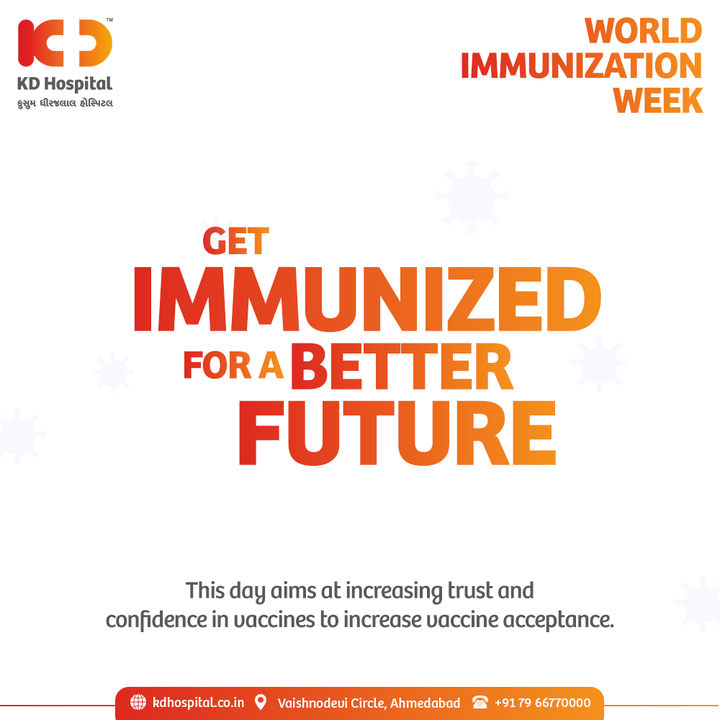 World Immunization Week encourages a commitment towards immunization all over the world to nurture the significance of vaccines in having a healthy life, reminding us to get vaccinated against COVID-19 to see everyone immunized.   #KDHospital #WorldImmunizationDay #Immunization #Vaccines #VaccinesWork #CovidVaccine #ImmunizedIndia #Compassion #Safety #PatientSafety #SafetyComesFirst #SafetyFirst #SafetyMeasures #Diagnosis #Therapeutics #Awareness #wellness #goodhealth #wellnessthatworks #Nusring #NABHHospital #QualityCare #hospitals #doctors #healthcare #medical #health #physicians #surgery #surgeon #Ahmedabad #Gujarat #India