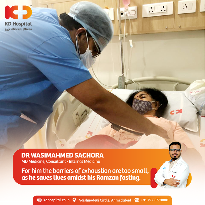 On the occasion of Eid, our Consultant of Internal Medicine, Dr Wasim, is doing the best to treat our COVID patients while keeping them in his prayers meanwhile fasting for the entire month.   #KDHospital  #Care #PatientCare #PatientFirst #Ramzan #Ramadan #Compassion #Safety #PatientSafety #SafetyComesFirst #SafetyFirst #SafetyMeasures #Diagnosis #Therapeutics #Awareness #wellness #goodhealth #wellnessthatworks #Nusring #NABHHospital #QualityCare #hospitals #doctors #healthcare #medical #health #physicians #surgery #surgeon #Ahmedabad #Gujarat #India