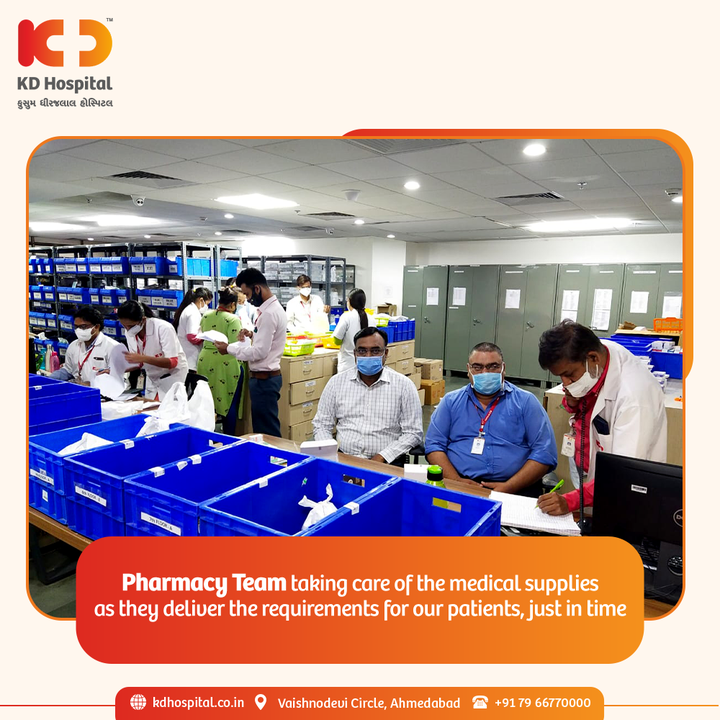 KD Hospital's Team Pharmacy is well geared up to deliver every patient's medicine promptly and rightly, meanwhile the COVID wave is being steered.  #KDHospital #Pharmacy #TeamPhamacy #Pharmacology #Care #PatientCare #PatientFirst #Compassion #Safety #PatientSafety #SafetyComesFirst #SafetyFirst #SafetyMeasures #Diagnosis #Therapeutics #Awareness #wellness #goodhealth #wellnessthatworks #Nursing #NABHHospital #QualityCare #hospitals #doctors #healthcare #medical  #physicians #Ahmedabad #Gujarat #India