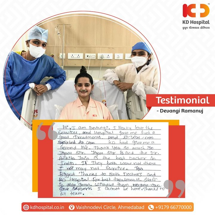 We feel privileged for having received appreciative words from Ms. Devangi for receiving the treatment under Dr. Jigar Mehta (Chief Intensivist & Head ICU) and Dr Ankita Jain - Gynecological & Endoscopic Surgeon  (Consultant Obstetrician and Gynecologist) in our hospital.  #KDHospital #MultiSpecialtyHospital #Compassion #Doctors #Diagnosis #Therapeutics #goodhealth #patienttestimonial #patient #testimonial #testimony #soical #socialmediamarketing #digitalmarketing #wellness #wellnessthatworks #Ahmedabad #Gujarat #India
