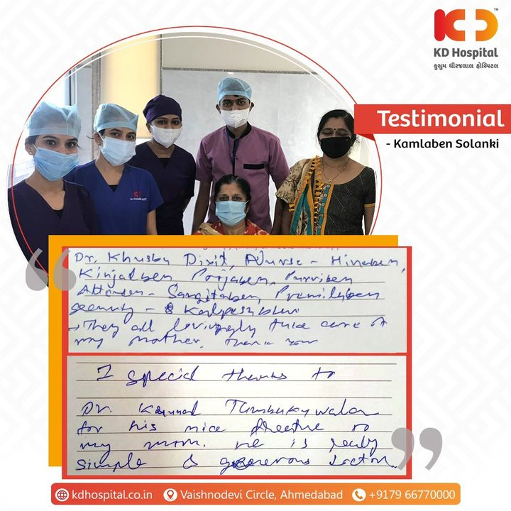 Your words are a great motivation to our doctors and healthcare frontiers to provide you with the best of the course of treatment and services.  Dr Krunal Tamakuwala MD, DM Cardiologist at KD Hospital   #KDHospital #PatientSpeaks #PatientTestimony #Testimony #Safety #PatientSafety #SafetyComesFirst #SafetyFirst #SafetyMeasures #Diagnosis #Therapeutics #Awareness #wellness #goodhealth #wellnessthatworks #Nusring #NABHHospital #QualityCare #hospitals #healthcare #physicians #surgeon #Ahmedabad #Gujarat #India