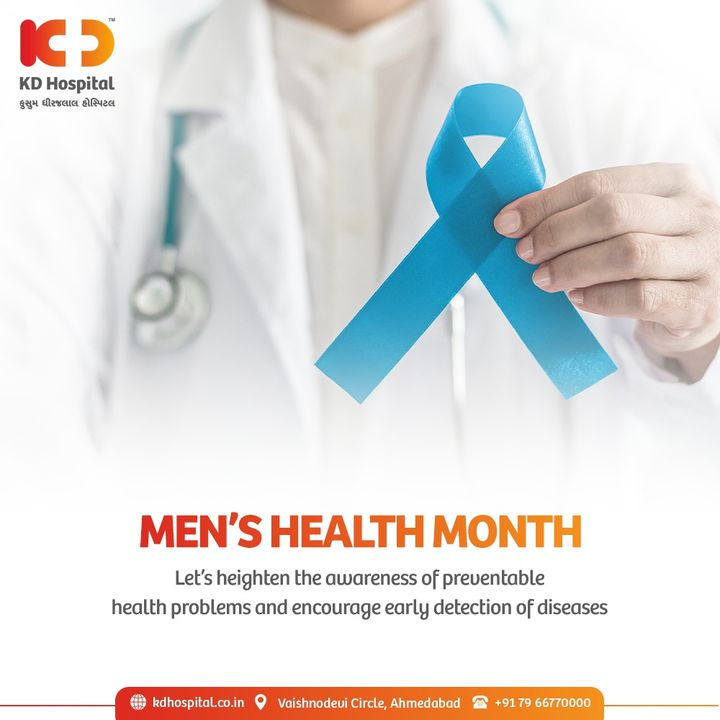 Men's Health Month brings awareness to the health issues all men face, to focus on improving their lifestyles.   #KDHospital #MensHealthMonth #menshealthmonth2021 #MensHealthMatters #MensHealthWeek  #HealthMonth #Diagnosis #Therapeutics #Awareness #wellness #goodhealth #wellnessthatworks #Nusring #NABHHospital #QualityCare #hospitals #healthcare #physicians #explore #surgeon #Ahmedabad #Gujarat #India
