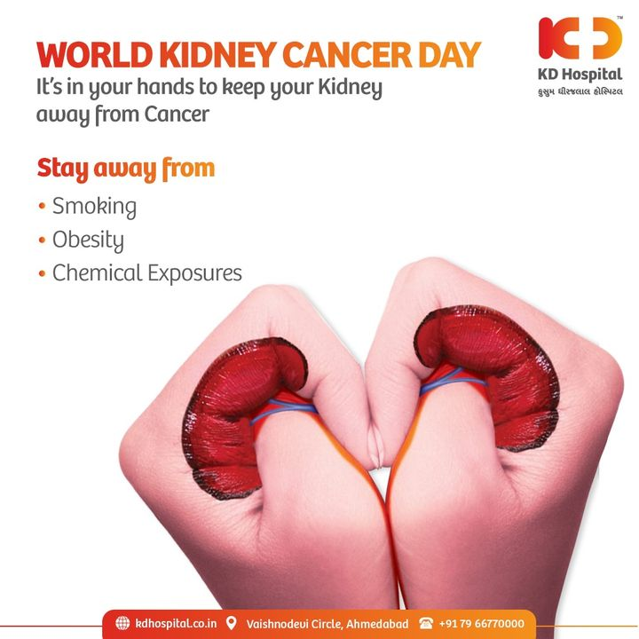 World Kidney Cancer Day is celebrated to raise awareness for this type of cancer. We should understand the signs and risk factors to fight this hard to diagnose the disease. #KDHospital #KidneyCancer #WorldKidneyCancerDay #Kidney #kidneytransplant #kidneyhealth  #kidneyfailure #kidneys #kidneystones #dialysis #kidneywarrior #nephrology #kidneydonor  #Diagnosis #Therapeutics #Awareness #wellness #goodhealth #wellnessthatworks #Nusring #NABHHospital #QualityCare #hospitals #healthcare #physicians #explore #surgeon #Ahmedabad #Gujarat #India