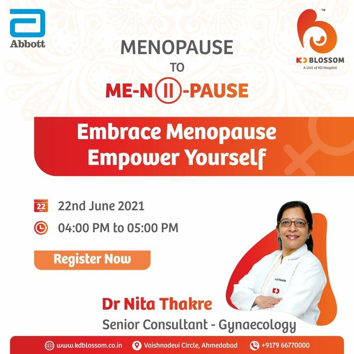 Embracing the changes of menopause can take women in their 40s and 50s a long way and our Gynaecology Consultant Dr. Nita Thakre has a take on the same.  Join her for a live talk about Menopause today from 4:00 PM to 5:00 PM. Copy the link for registration.   https://events.webstreamlive.com/pausetivetalks/220621/  Mittal Thakkar  #KDHospital #KDBlossom #Gynaecology #LiveTalk #Menopause #Compassion #Safety #PatientSafety #SafetyComesFirst #SafetyFirst #SafetyMeasures #Diagnosis #Therapeutics #Awareness #wellness #goodhealth #wellnessthatworks #Nusring #NABHHospital #QualityCare #hospitals #healthcare #physicians #surgeon #Ahmedabad #Gujarat #India