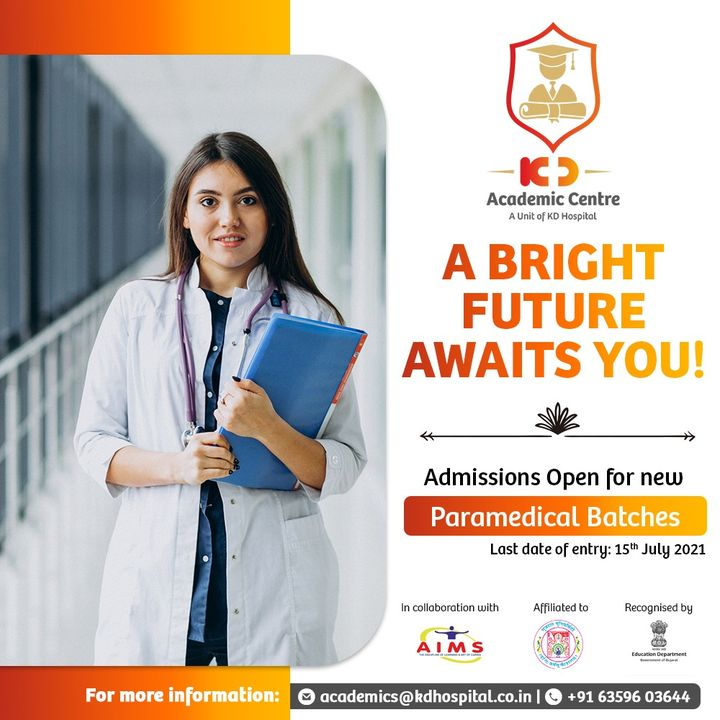 Declaring Admission with KD Academics Center for Paramedical Courses Now Open!! Please click here https://bit.ly/3hlLZuo to know more or Call: +91 6359603644. The offered courses are in collaboration with Ahmedabad Institute of Medical Sciences (AIMS), affiliated with Gujarat University, and recognized by the Government of Gujarat. An initiative by KD Hospital, Ahmedabad.  #KDAcademis #KDHospital #academics #admission #courses #medical #health #Connections #wellness #healthcare #paramedic #paramedical #paramedicalstudies #ParamedicalCourses #paramedicaltechnician  #medicalstudent #medicalschool #becomeaparamedic #placement #student #studentsuccess #Ahmedabad #Gujarat #India