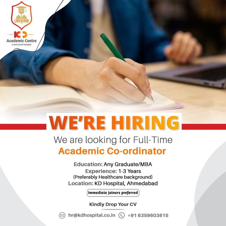 KD Academic Centre (A unit of KD Hospital) is looking for a Full-time Academic Coordinator. Eligible candidates can drop their updated resume on hr@kdhospital.co.in  #KDHospital #KDAcademics #Hiring #Covid #Covid19 #WeAreHiring #Academics #Coordinators #graduate #MBA #apply #vacancy #work #opportunity #urgentvacancyalert #jobseekers #recruitment #jobsearch  #jobs #Job #Leadership #HiringAlert #Connections #Therapeutics #goodhealth #Ahmedabad #Gujarat #India