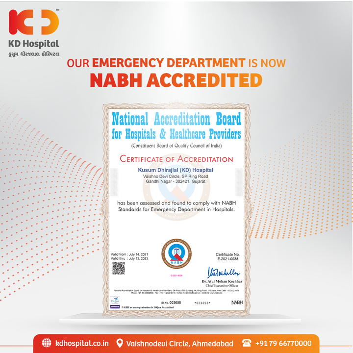 Our well equipped Emergency Department just got recognised by receiving NABH accreditation for Emergency Services, which allows our healthcare frontiers to serve the patients coming to us in any condition. We'll thrive to serve the patients with quality care by constant refinement.  #KDHospital #NABHAccreditation #NABH #ER #ED #EmergencyDoctors #EmergencyMedicine #EmergencyServices #NABHHospital #QualityCare #hospitals #doctors #healthcare #medical #health #hospital #nurses #medicine #coronavirus #staysafe #physicians #surgery #surgeon #wellnessthatworks #Ahmedabad #Gujarat #India