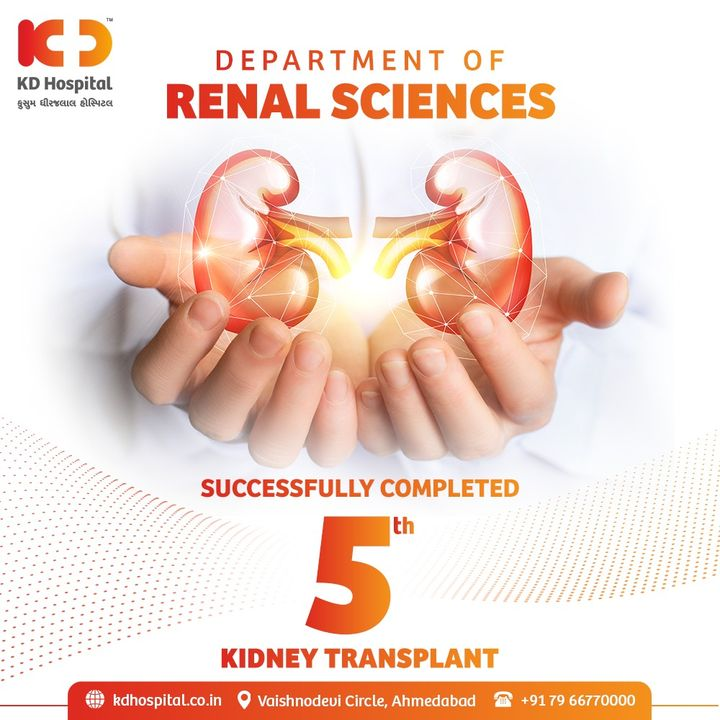 KD Hospital takes pride in completing 5 successful kidney transplants. With your help and support, we continue to save many other lives to give them a gift of life.  #KDHospital #HelpingHands #kidney #KidneyTransplant #KidneyDonor #KidneyDonate #Nephrologist #Urologist #BeADonor #DonateOrgans #TissueDonation #OrganTransplantation #OrganTransplant #OrganDonation #NABHHospital #QualityCare #hospitals #doctors #healthcare #Covid #CovidVaccine #StaySafe #WellnessThatWorks #Ahmedabad #Gujarat #India
