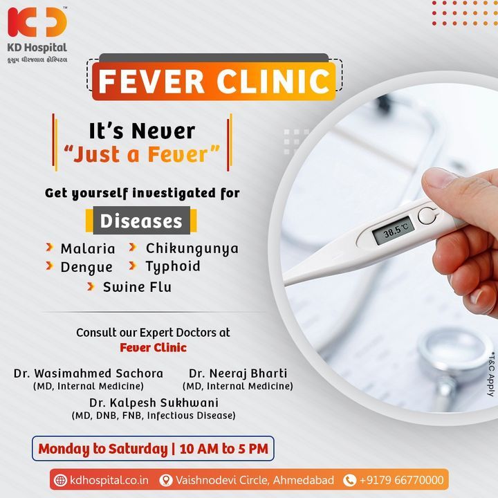 Fever in the rainy season could be inviting a few bacterial and viral diseases along with water-borne diseases in your body. Don't ignore the symptoms and visit our Fever Clinic by appointment on +917966770000.  #KDHospital #MultiSpecialtyHospital #FeverClinic #FeverProfile #Fever #MonsoonFever #Malaria #Chikungunya #Dengue #Typhoid #SwineFlu #Compassion #Doctors #Diagnosis #Therapeutics #goodhealth #patienttestimonial #patient #testimonial #testimony #soical #socialmediamarketing #digitalmarketing #wellness #wellnessthatworks #Ahmedabad #Gujarat #India