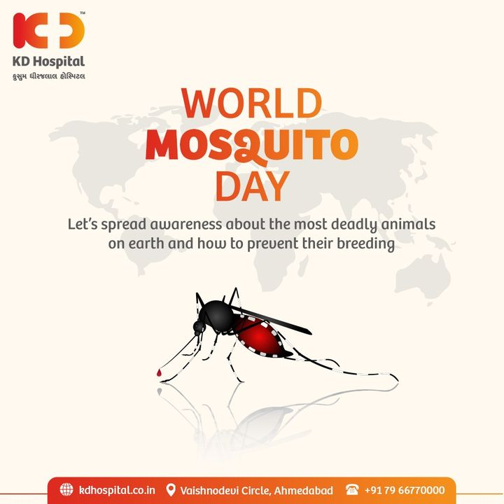 """The theme of this year's World Mosquito Day is """"Reaching the Zero-Malaria Target"""". This day is observed to raise awareness & alertness about the deadly diseases caused by mosquitos and their complications.  #KDHospital #WorldMosquitoDay #Mosquito #Malaria #WaterBorneDiseases #Doctors #Diagnosis #Therapeutics #goodhealth #soical #socialmediamarketing #digitalmarketing #wellness #wellnessthatworks #Ahmedabad #Gujarat"""