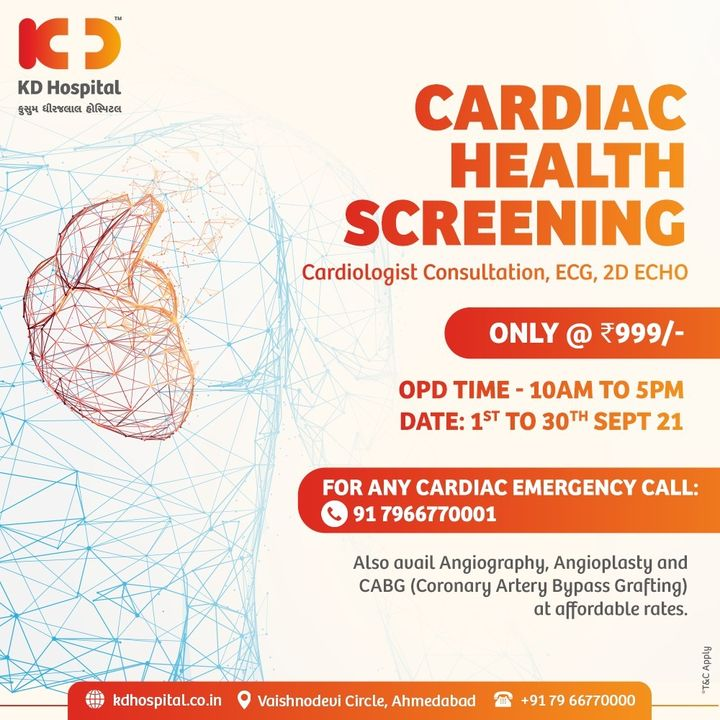 We want you to listen to your heart! KD Hospital offers a range of Cardiac Packages for your Happy Heart. Call us on 07966770000 for appointments.   #KDHospital #MultiSpecialtyHospital #HealthyHeart #HealthAwareness #CardiacHealth #Cardiology #Cardiologist #Compassion #Doctors #Diagnosis #Therapeutics #goodhealth #patienttestimonial #patient  #soical #socialmediamarketing #digitalmarketing #wellness #wellnessthatworks #Ahmedabad #Gujarat #India