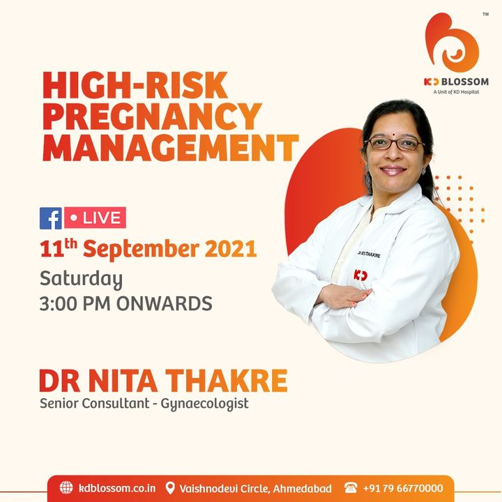 While being pregnant comes with joy, it also adds the responsibility of its own kind. Be mindful of the risk factors related to High-Risk Pregnancy hence, reducing the risk. Our Sr. Consultant Gynaecologist Dr Nita Thakre shares her insight on the same on Facebook Live from 03:00 PM onwards on 11/09/2021. Join the session on our official Facebook page at https://www.facebook.com/KDHospitalOfficial/  #KDHospital #KDBlossom  #MultiSpecialtyHospital  #FacebookLive #doctor #pregnancy #highriskpregnancy #twins #recurrentabortion #fertility #gynaecology #obstetrics #fitness #healthiswealth #healthyliving #patientscare  #healthylifestyle  #Ahmedabad #Gujarat #India