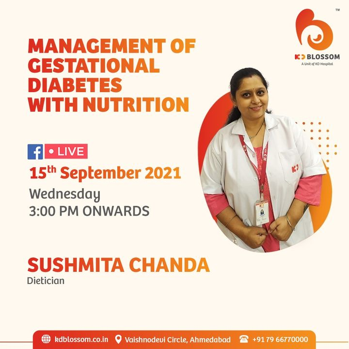 Around 15% of women get diabetes while being pregnant, typically known as gestational diabetes. Our senior dietician shares her insight on how one can manage the same.  Join the live session on our official Facebook page at https://www.facebook.com/KDHospitalOfficial/  #KDHospital #KDBlossom #Diet #HealthyDiet #DietForPregnancy #goodhealth #MultiSpecialtyHospital #DoctorsOfInstagram #Diagnosis #Therapeutics #socialmedia #socialmediamarketing #FacebookLive #pandemic #wellness #wellnessthatworks #Ahmedabad #Gujarat #India