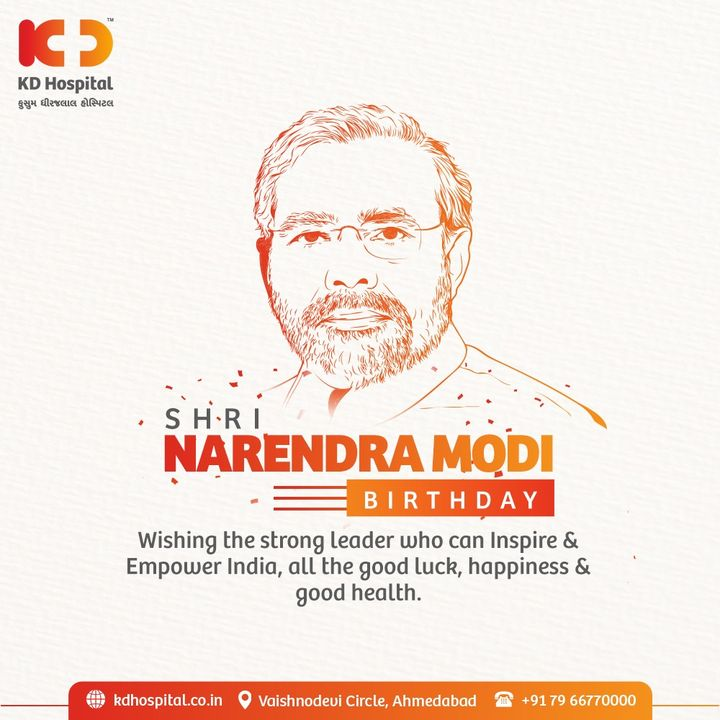Wishing our beloved Prime Minister  Shri Narendra Modi Ji Happy Birthday. May God bless u with the best of Health to enable u to serve the country to the maximum.   #KDHospital  #MultiSpecialtyHospital  #modiji #narendarmodi #pmofindia  #incredibleindia #NarendraModi #NAMO #happybirthdaypm #happybdaypmmodi #narendramodibirthday  #happybirthdaypmmodi #happybirthdaymodi #modi #narendramodifan #Ahmedabad #Gujarat #India