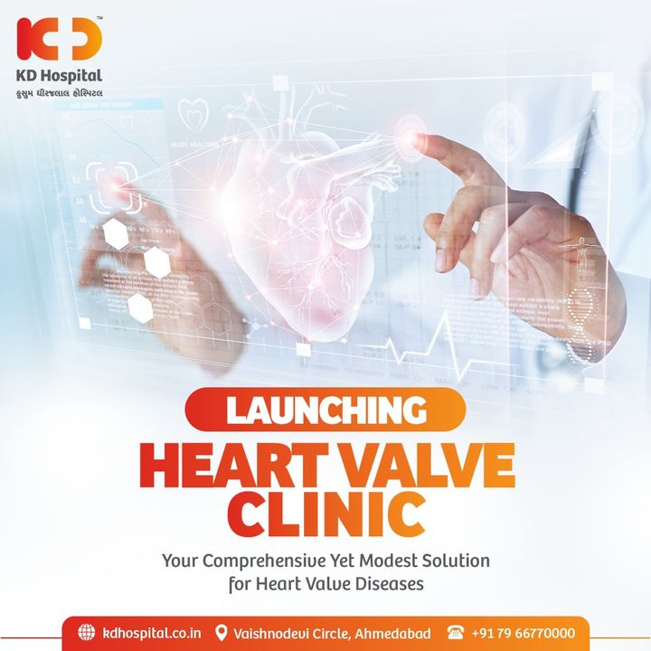 We are adding a new branch to our tree by inaugurating Heart Valve Clinic. Here, patients suffering from Heart Valve diseases shall get treated under expertise hands. For more information visit: https://bit.ly/3m7mgZ1  #WorldHeartDay #WorldHeartDay2021 #HeartValveClinic #NewLaunch #KDHospital #HealthyHeart #HeartDiseaseAwareness #HeartDisease #ValveDiseases #HeartAttack #HeartAttackAwareness #HeartCare  #UseHeartToConnect #useheart  #Ahmedabad #Gujarat #India