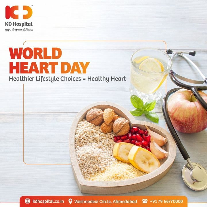 Cardiovascular disease is one of the fatal lifestyle disorders. Eating healthy, exercising regularly, quitting smoking are some of the ways in which we can reduce the risk of heart diseases. On this World Heart Day, let us pledge to adopt a healthy lifestyle and keep our hearts healthy.  #WorldHeartDay #WorldHeartDay2021 #HeartHealth #CardiacHealth #HeartDay #HeartValveClinic #NewLaunch #KDHospital #HealthyHeart #HeartDiseaseAwareness #HeartDisease #ValveDiseases #HeartAttack #HeartAttackAwareness #HeartCare #UseHeartToConnect #useheart #Ahmedabad #Gujarat #India