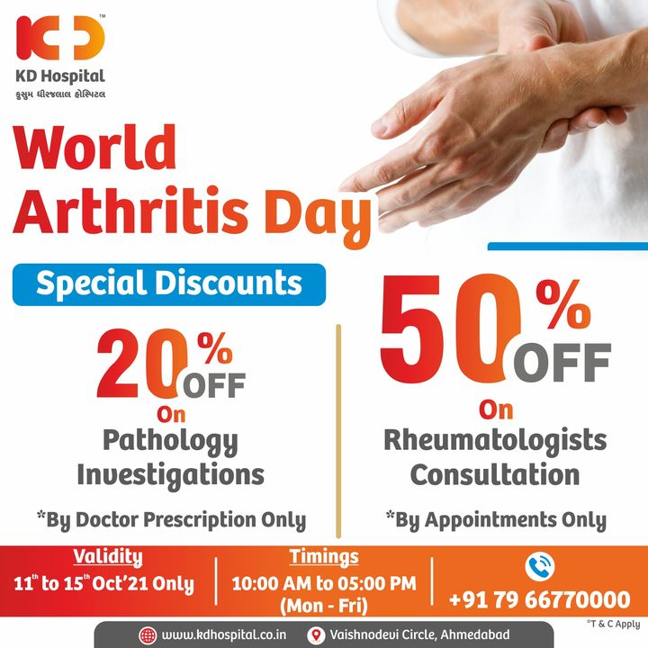 Don't ignore the early signs. Arthritis is just the beginning of a series of other diseases. Avail Today the benefit of Arthritis Screening at KD Hospital with special discounted rates for a limited period !! Call now: +91 79 66770000 to Book an Appointment.  #KDHospital  #WorldArthritisDay #arthritis #arthritisrelief #jointpain #muscleweakness #kneepain #shoulderpain #hippain #backpain #exercise #bonehealth #arthritisproblems #osteoarthritis #rheumatoidarthritisawareness #arthritisawareness #curearthritis #arthritispain #arthritisawarenessmonth #rheumatoidarthritis #Ahmedabad #Gujarat #India