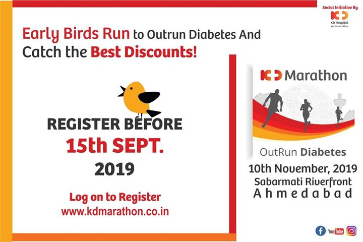 Register yourself before 15th September for Early bird discounts!   #OutRunDiabetes #KDMarathon #MarathonLovers #LongDistanceRunning #SabarMatiRiverFront
