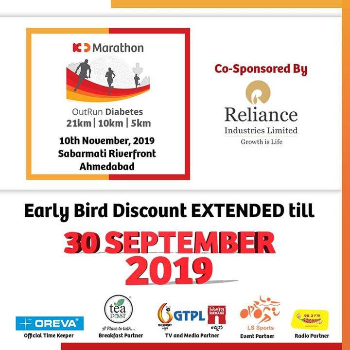 Drum roll!!!  **We're extending Early bird discount date till 30th September 2019**  So register now www.kdmarathon.co.in   #KDMarathon #OutRunDiabetes #AhmedabadRunners #30thSeptember