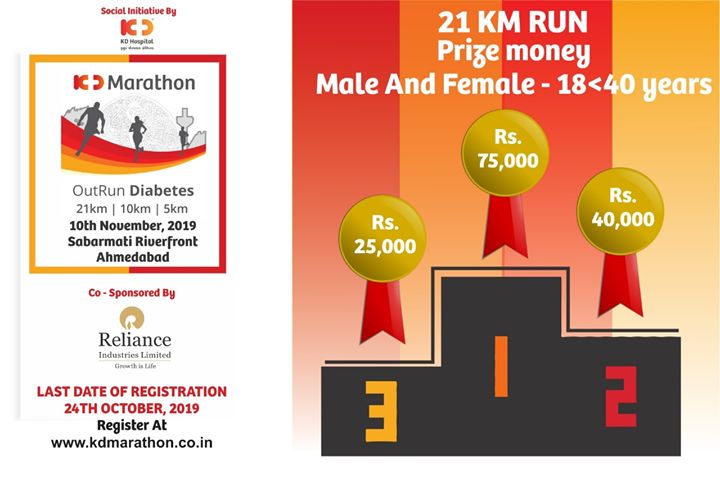 Here are the mega prizes to be won in 21 kms ( Half Marathon) at KD Marathon. Gear up, Get Set Run to OutRun Diabetes. KD Marathon on 10th Nov, Sabarmati Riverfront - Last Date of registration 24th Oct 2019.  #KDMarathon #OutRunDiabetes #diabetesawareness #marathon #marathon2019 #marathonahmedabad #marathonsupport #running #run #amdavadi #ahmedabadmarathon #runningmarathon #marathons #fitnessmotivation #halfmarathon #runthecity