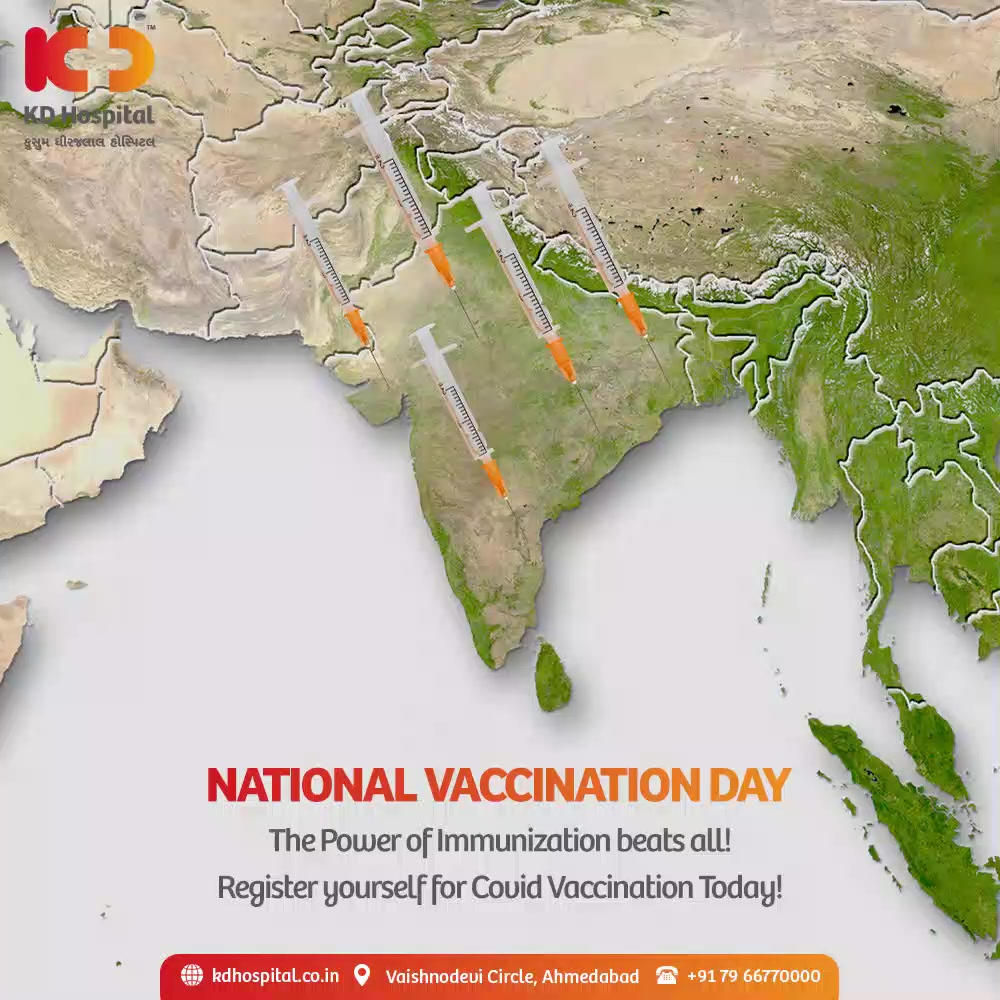 This National Vaccination Day, let's keep our immune system boosted to fight COVID-19, convey everyone to get vaccinated and being part of the world's largest vaccination drive started by our nation.   #NationalVaccinationDay #Vaccine #Covid19 #CovidVaccine #Immunization #ImmuneSystem #KDHospital #KD #healthfirst #healthylifestyle #stayhealthy #Awareness #goodhealth #Diagnosis #Therapeutics #NABHHospital #QualityCare #hospitals #doctors #Nurses #healthcare #medical #digitalmarketing #wellness #wellnessthatworks #Ahmedabad #Gujarat #India