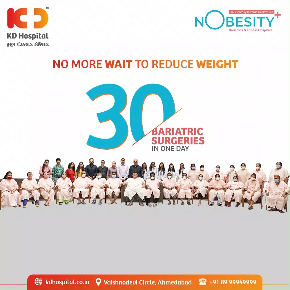 KD Hospital in association with Nobesity had taken the initiative of performing 30 Bariatric Surgeries as a Corporate Social Responsibility (CSR) keeping the alarming number of obese population in mind to raise awareness about taking the issue seriously and working towards it.   #KDHospital #Nobesity #BariatricSurgery #WeightLoss #CSR #BariatricSurgeries #BMI #HighBMI #WeightLossJourney #Obesity #OverWeight #PatientSafety #SafetyMeasures #Diagnosis #Therapeutics #Awareness #wellness #goodhealth #wellnessthatworks #Nusring #NABHHospital #QualityCare #hospitals #healthcare #physicians #surgeon #Ahmedabad #Gujarat #India