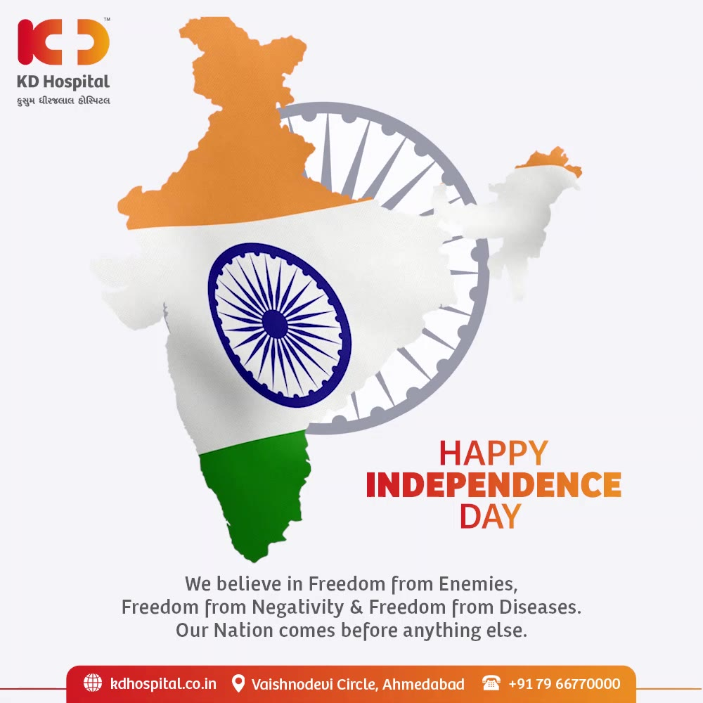 We shall not forget the sacrifices that led us to Freedom and always keep in our hearts the spirit of Patriotism this Independence Day.  #KDHospital #IndependenceDay #IndependenceDay2021 #Independence #IndependenceDayIndia #Freedom #FreedomFighters #15thAugust  #Doctors #Diagnosis #Therapeutics #goodhealth #soical #socialmediamarketing #digitalmarketing #wellness #wellnessthatworks #Ahmedabad #Gujarat #India