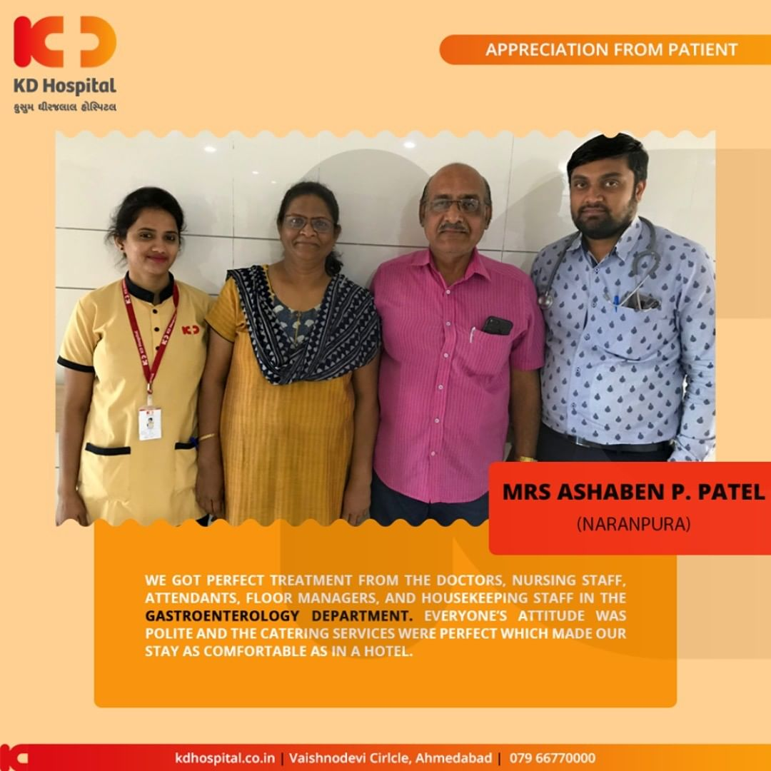 Glad towards the trust that our patients show in us! Treating them & seeing them leave with a smile is what we always aim for!  #KDHospital #GoodHealth #Ahmedabad #Gujarat #India #Appreciation