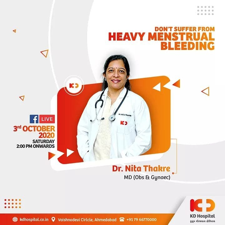 Heavy menstrual bleeding may anticipate anaemia and abdominal cramping for a longer period.   Listen to Dr Nita Thakre talk about how to manage heavy menstrual bleeding on Facebook Live at 2:00 PM this Saturday on October 3, 2020.   Join the session on our official Facebook page at https://www.facebook.com/KDHospitalOfficial/  #KDHospital #MultiSpecialtyHospital #Compassion #Doctors #DoctorsOfInstagram #Diagnosis #Therapeutics #goodhealth #FacebookLive #heavymenstrualbleeding #menstrualbleeding #menstruation #heavymenstruation #menstrualcycle #wellness #wellnessthatworks #Ahmedabad #Gujarat #India